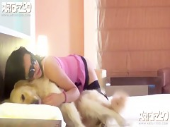 Cute teen licked by her dog on cam