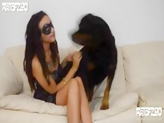 girl watches dog cock on cam