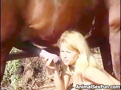 Dog rape blond girl