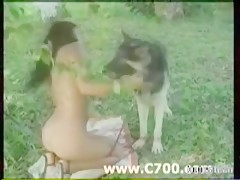 Hot blonde and withe dog