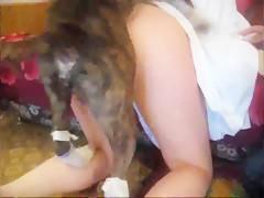 Thai girlfriend sex dog fuck