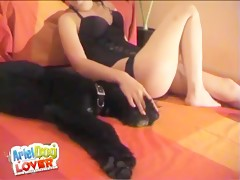 Dog licks brunette pussy Webcam