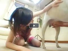Chica asiatica probando sexo animal